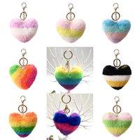diseñador llavero arco iris pluspa melocotón corazón llavero favorito favor multicolor amor colgante bolso accesorios de automóvil accesorios para el coche Venta superior