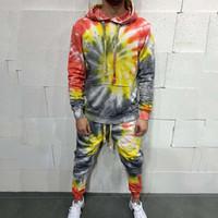 Мужские трекиички Jogger заклинание с капюшоном свитаные толщины костюм Стремящиеся брюки толстовка толстовка мода мужская мужская одежда