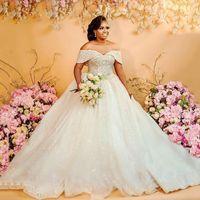 Glitter Saislu ASO EBI Style BLL Robe De Mariée Robes De Mariée Date d'épaule Cristaux Perles De Perles Plus Taille Robes de mariée Robe de Mariage