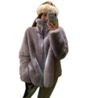 Mulher Faux Feminina Mulheres Inverno 2021 Imitação Lameiro Lã Casaco Feminino Carrinho Collar Casacos Grande Tamanho Solto Casual Lady Jacket G221