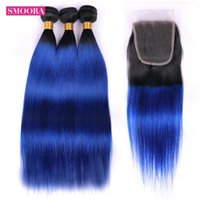 شعر الإنسان Bulks Smoora Ombre 1B / Blue البرازيلي 3 حزم مستقيم غير ريمي نسج مع إغلاق الدانتيل 4 * 4 جزء مجاني