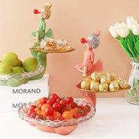 Организация хранения кухни креативная смола двойной слой лоток гостиной столовой плодоовощ конфеты декор украшения золото органайзер еду Presvati