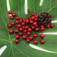 1cm 50pcs fleurs artificielles Staminens baies rouges cerisier faux fruit en mousse lisse pour la décoration de Noël de mariage