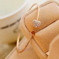 Nueva pulsera de joyería de alta calidad con diamante en forma de corazón doble melocotón amor brazalete de cristal abierto pulsera de oro abierto