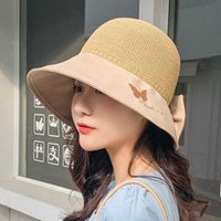 Hats Bucket Female Summer Bow Hollow Out Butterfly Cover Face Knitting Anti Ultraviolet Sunscreen Fisherman's{category}