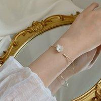 Mengjiqiao 2020 элегантный ручной раковину цветочный браслет для женщин девочек мода металлический круг браслеты браслеты ювелирные украшения подарки