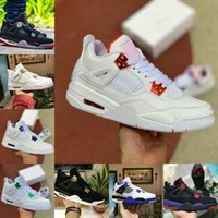 Air Jordan 4 retro jordans  Nike 2021 Bred Black Cat 4 4s Basketball Chaussures Hommes Hommes Ciment blanc Encore Wings Fire Red Singles Designers