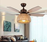 52 inch American retro ceiling fan lamp Bamboo cage with light remote control ventilator lamps bedroom decor Silent Motor Home