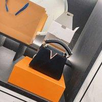 С коробкой женщин широкий плечевый ремешок триколор кожаные катокусины Crossbody Один пакет размером 20 * 14см