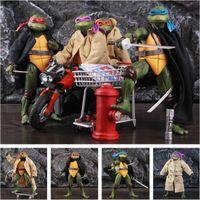 """Set med 4 1990-sköldpaddor 7 """"Åtgärd Figur Raphael Leonardo Michelangelo Donatello Exklusiv filmfilmleksaker Doll Modell Ko's Neca"""