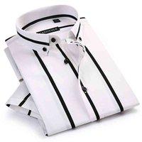 Men's Contrast Wide Stripes Short Sleeve Dress Shirts Comfortable Soft Standard-Fit Summer Thin Casual Button-down Office Shirt