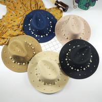 Sombreros anchos sombreros de sombrero de verano Inglaterra Sombrero plano de paja Pearl Beaded Ladies Sunscreen Jazz Outdoor Beach al por mayor