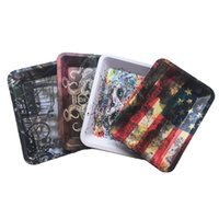 Double-sided color Fruit plate Storage tray 180*125mm Tobacco Rolling Metal Tray Handroller Roll Case For Smoking Accessories