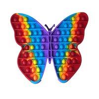 Big size 30cm Rainbow Butterfly Push Bubble Fidget Toys Stress Relief Toy Autism Needs ZZC7736