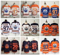 Edmonton Oilers Oilers Hockey Jerseys 29 Leon Draiseaitl جيرسي 97 كونور ماجدافيد 93 Ryan Nugent-Hopkins Proatics وصفت برتقالية