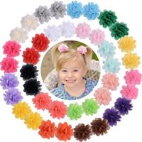 24 Renkler Bebek Kız Saç Klip Çocuk Şifon Çiçek Aksesuarı Fırın Butik Şerit Hairband Ins Barrette