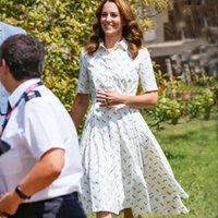 Kate Middleton Moda 2021 Yaz Kadınlar Yeni Zarif Parti Gentlewoman Kısa Kollu Yaka Gömlek Elbise Olri