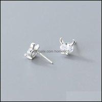 Jewelry925 Sterling Sier Zircon Cattle Stud Earrings For Fashion Women Cute Fine Jewelry Minimalist Animal Aessories Drop Delivery 2021 Ak8N