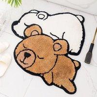 Carpets Entrance Door Mat Animal Bear Panda Dog Husky Duck Shaped Bath Rug Bathroom Non-Slip Toilet Carpet Absorbent Anti-Slip Doormat