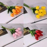الزهور الزخرفية أكاليل اللاتكس الزنبق الاصطناعي بو زهرة باقة ريال اللمس الزهور للديكور المنزل الزفاف 11 الألوان الخيار 296 S2 2WKZ