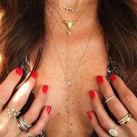 Anhänger Halsketten Gold Farbe Choker Halskette für Frauen 4 Schichten Kristall Bull Kette Anhänger Velvet Chokers Modeschmuck