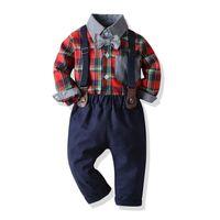 Рождественские дети одежда наборы мальчиков бантики галстуки отворот с длинным рукавом клетчатая рубашка + брюки подвеска 2 шт. Осенние детские джентльменские наряды Q2661