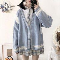 Malhas das mulheres camisetas Camisola de estudante japonesa All-Match Oversize Kawaii Moda Meninas Chic Knit Top Cardigan Mulheres Listrado Retro Clássico Pre