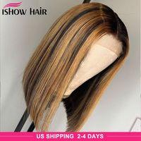 브라질 스트레이트 하이라이트 Bob 4x4 레이스 클로저 인간의 머리 가발 4/27 omber 자연 색 인간의 머리카락 레이스 프론트 가발