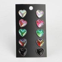 Stud Y2K Jewelry Peach Heart Harajuku Love Candy Color Fish Scale Vintage Earring 5 Pcs set Aesthetic Earrings For Egirl Hip Hop Bar