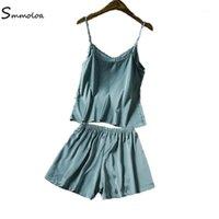 Smmoloa Sleepwear 여성 민소매 실크 새틴 파자마 Set1.