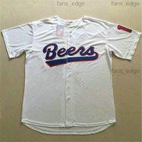 Cosido caliente la película de Baseketball Beers # 17 Doug Reme # 44 Joe Coop Cooper Baseketball Blanco Botón Baseteball Jerseys 999960