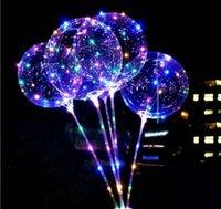 Nouveaux LED lumières Ballons de nuit Éclairage de nuit Bobo Ball Multicolore Décoration Ballon De Mariage Décoratif Brillant Ballons Brillant Balloons avec Stick EWA7815