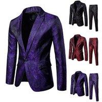 Men's Suits & Blazers Men Clothing Formal Suit 2pcs Set Gentleman Work Single Button Solid Business Wedding Office Mens