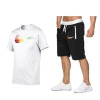 Erkek Şort Tasarımcı Tişörtleri Yaz Spor Suits Rahat 100% pamuk Iki Parçalı Eşofman Seti Baskı Sweetsuit Track Eğitim Giyim S-2XL