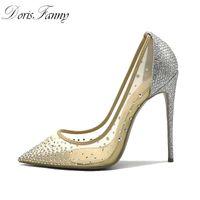 Doris fanny sexy party schuhe frau spezige toe strass heels silber damen high heels pumpen 12 cm hochzeit schuhe bride 210225