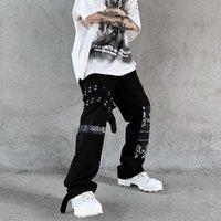 Women's Pants & Capris Women Gothic Punk Patchwork Black Cargo Harajuku Streetwear Print Oversize Wide Leg Trousers For Female Mall Goth