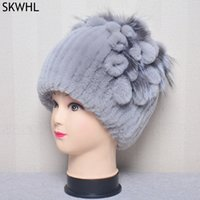 Natural Rex Rabbit Fur Flowers Hat Women Winter Warm Handmade Knit 100% Real Caps Lady With Fox Fur Beanies Hats