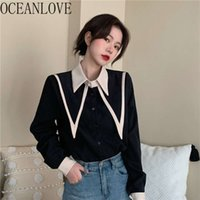 Oceanlove Women Blouse Contrast Color Vintage Autum Winter Blusa Feminina 2021 Ins Sweet Chic Single Breasted Shirts Ropa Mujer