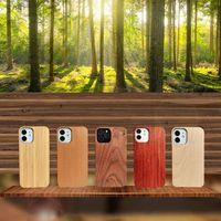 Ahşap Bambu Gömme Kenar Tampon Telefon Kılıfları PC Yarım Gövde Geri Kapakları iphone 5 6 7 8 Artı XS XR 11 Pro Max 12 Mini SE2 Samsung S20 S10 S9 S8 S7 S6 Not 9 10 5g 20 Ultra-Boş