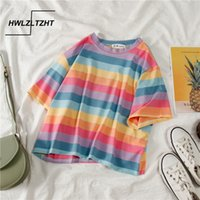 Hwlzltzht Summer Rainbow T-shirt femminile T-shirt a maniche corte a strisce T-shirt da donna a maniche corte Camicia da donna in cotone cool T-shirt da donna 210310