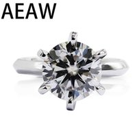 AEAW 1.0ct 3ct 5ct EF Round 18K White Gold Plated 925 Silver Moissanite Ring Diamond Test Passed Jewelry Woman Girlfriend Gift