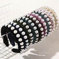 Big Pearl Headband Velvet Wrapped Head Hoop Elegant Wide Head Bands Girls Headwear Boutique Hair Accessories 9 Designs