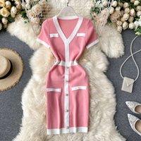 Yeni Tasarım kadın Moda Retro Zarif Tek Göğüslü Patchwork Kısa Kollu V Yaka Örme Kalem Elbise Renk Bloğu Kısa Elbise