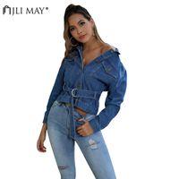 Women's Jackets JLI MAY Slim Cropped Denim Jacket Autumn Streetwear Belt Turn-down Collar Single Breasted Pockets Long Sleeve Jeans Women Co