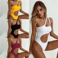 Badebekleidung Frauen Badeanzug 2018 Neue Sexy High Cut Monokini Aushöhlen Biquini Eine Schulter Strand Badeanzug Bodysuit Weibliche Strand tragen 76 x2