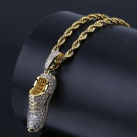 Hip Hop Micro Paved + Cubic Zirconia Iced Out Bling Shoe Pendants Necklace for Women Men Jewelry Gift Gold Silver Color