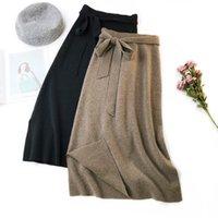 Faldas Otoño Invierno Arco Fashes Punto Falda Mujeres Casual Imitate Mink Lea Sólido Solid Cintura Alta Cintura Ropa T645