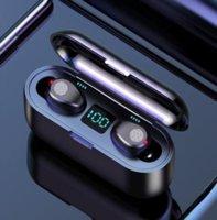 F9 Wireless Earphone Bluetooth V5.0 Earbuds Headphone Cell Phone Earphones LED Display With 2000mAh Power Bank Headset Microphone