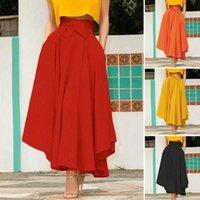 Skirts ZANZEA 2021 Elegant Spring High Waist Maxi Dress Women's Asymmetrical Sundress Casual Vestido Female Solid Robe