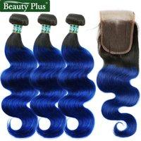 Human Hair Bulks Blue Bundles With Closure Body Wave Brazilian Ombre 3Pcs 100% Remy Beauty Plus